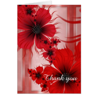 Red Flowers on Marble Personalized Card