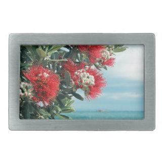 Red flowers paradise beach New Zealand summer Belt Buckles