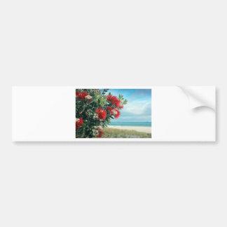 Red flowers paradise beach New Zealand summer Bumper Sticker