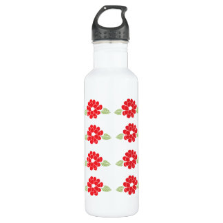 Red Flowers Pattern 24oz Water Bottle