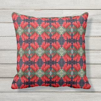 Red Flowers Pattern 3 Throw Pillow