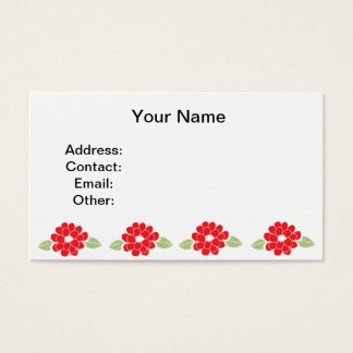 Red Flowers Pattern Business Card