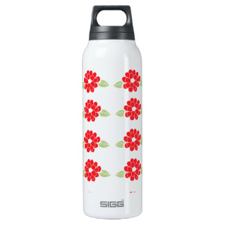Red Flowers Pattern 16 Oz Insulated SIGG Thermos Water Bottle