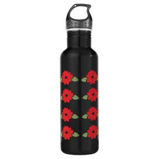 Red Flowers Pattern Water Bottle