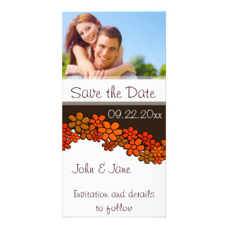 """Red Flowers/photo  """"Save the Date"""" Picture Card"""