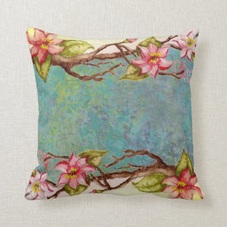 red flowers, spring tree branch, tie dye abstract pillows