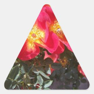 Red Flowers Triangle Sticker