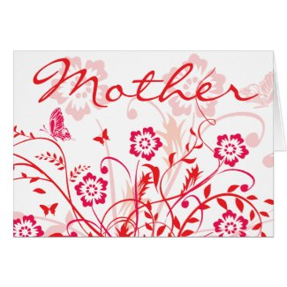 Red Flowers Swirls Mother's Day Cards
