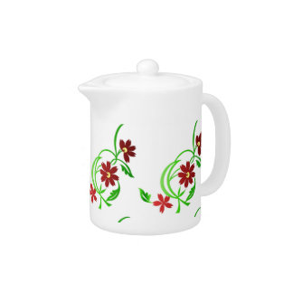 Red flowers teapot