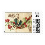 Red Flowers Vintage Love Birds Wedding Stamps