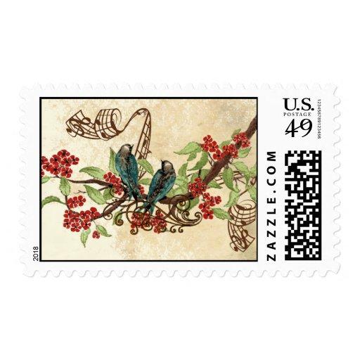 Red Flowers Vintage Love Birds Wedding Stamps