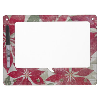 Red flowers vintage wallpaper dry erase board with keychain holder