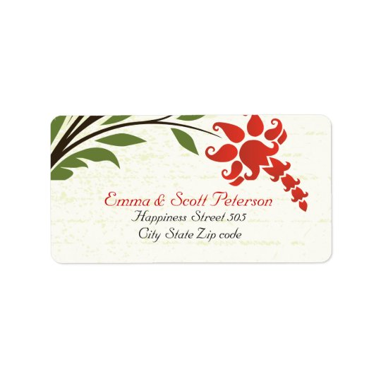 Red Flowers Vintage Wedding Return Address Label