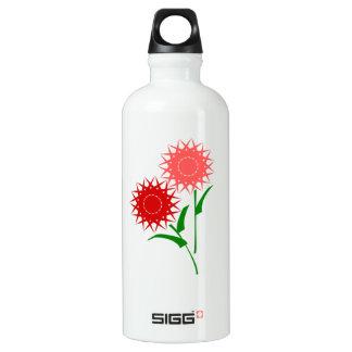 Red Flowers Water Bottle