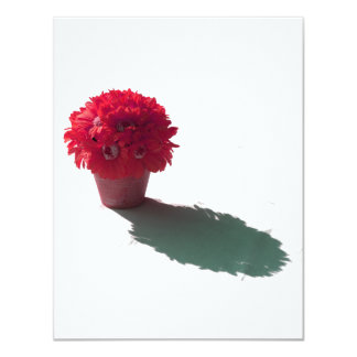 """Red Flowers White Bucket and Shadow 4.25"""" X 5.5"""" Invitation Card"""
