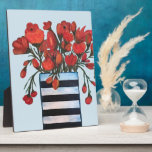 """Red Flowers with Striped Vase Fine Art Plaque<br><div class=""""desc"""">&#169; Brenda Boss - Fun and colorful,  this fine art painting of a red flower bouquet is great for home decor that has contemporary themes with reds,  golds,  white,  and black. The original is an acrylic on canvas and was painted by a Florida artist.</div>"""