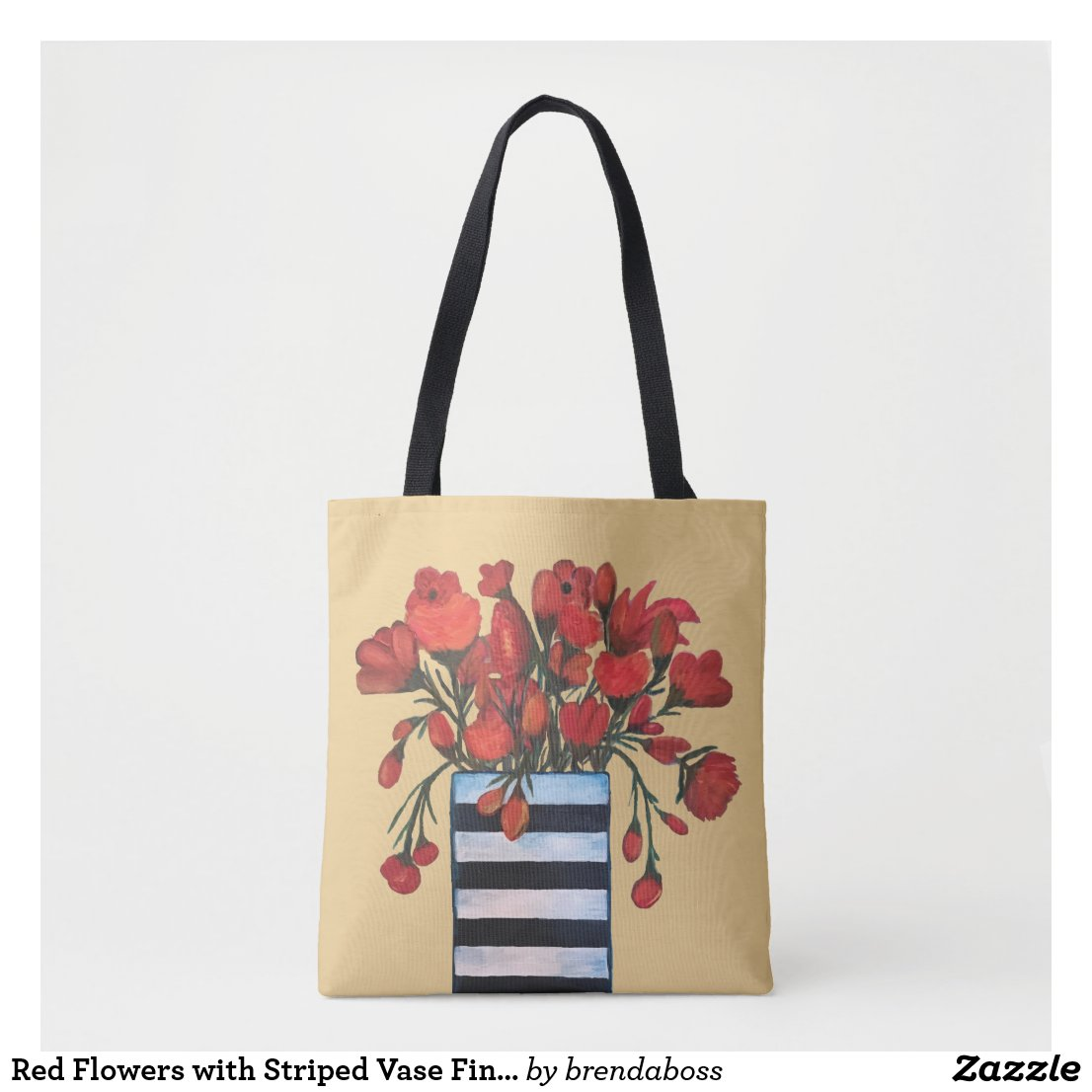 Red Flowers with Striped Vase Fine Art