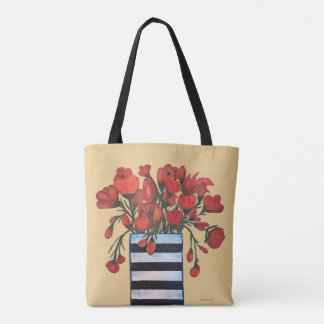 Red Flowers with Striped Vase Fine Art Tote Bag