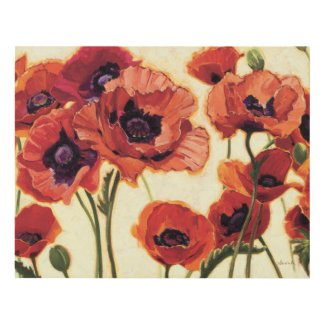 Red Flowers Wood Wall Art