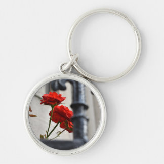 Red Flowers Wrought Iron New York City Photography Keychain