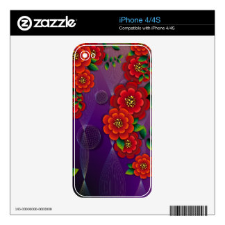 Red Flowers Zazzle Skin Skins For The iPhone 4