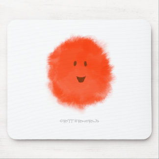 Red Fluffy Critter Mouse Pad