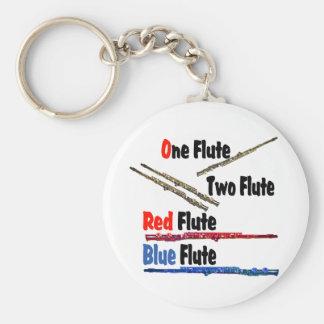 Red Flute Blue Flute Basic Round Button Keychain