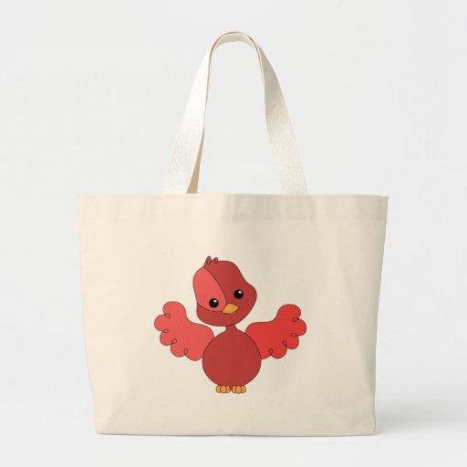 Red Flutter Bird Canvas Bag