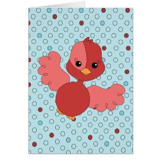 Red Flutter Bird Card