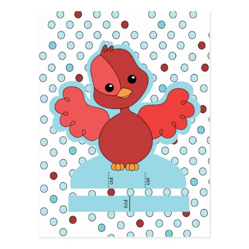 Red flutter bird cut and play! post card