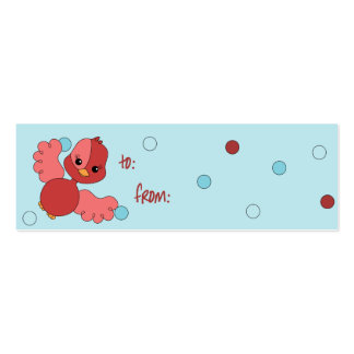 Red Flutter Bird to/from tags Mini Business Card