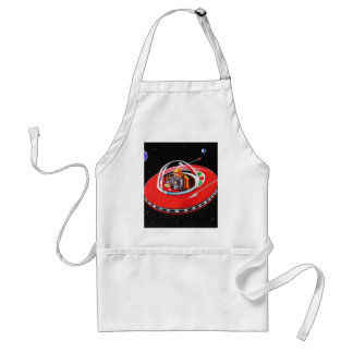 RED FLYING SAUCER ADULT APRON