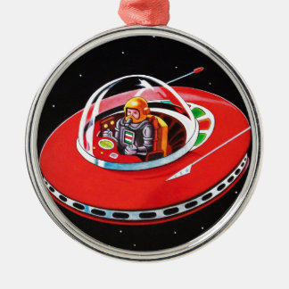 RED FLYING SAUCER METAL ORNAMENT