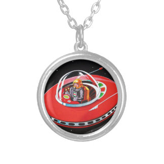 RED FLYING SAUCER SILVER PLATED NECKLACE