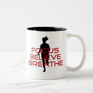 Red Focus Believe Breathe Two-Tone Coffee Mug