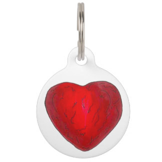 Red Foil Chocolate Heart Love Valentine's Day Pet ID Tag