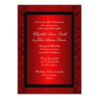 Red Foil Damask Wedding Invitation