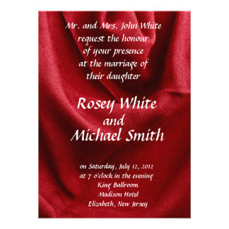 Red folded fabric personalized announcement