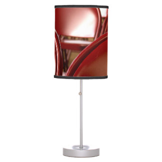 Red folding chairs table lamp