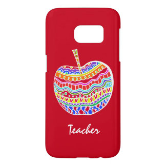 Red Folk Art Apple Teacher's Samsung S7 case