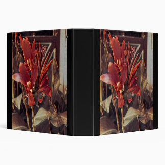 Red Folk Art Flowers Binder