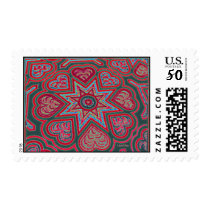 Red Folk Art Hearts Postage