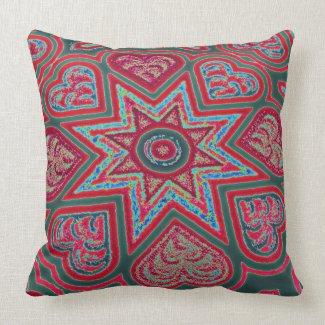 Red Folk Art Hearts Throw Pillow