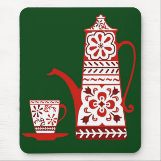 Red folk, delft, coffee/tea pot and cup mouse pad