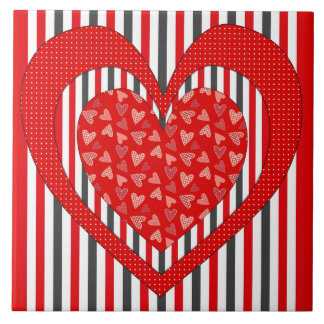 Red Folksy Hearts and Stripes Ceramic Tile