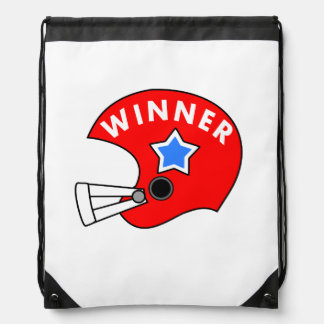 red football helmet cartoon with blue & white star drawstring backpack