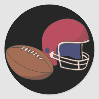 Red Football Helmet n Ball Classic Round Sticker