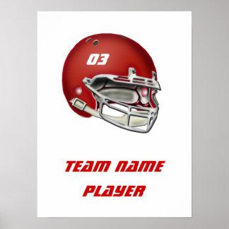 Red Football Helmet Poster