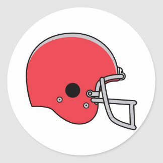 Red Football Helmet Classic Round Sticker