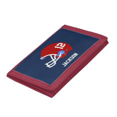 Red Football Helmet Trifold Wallet at Zazzle